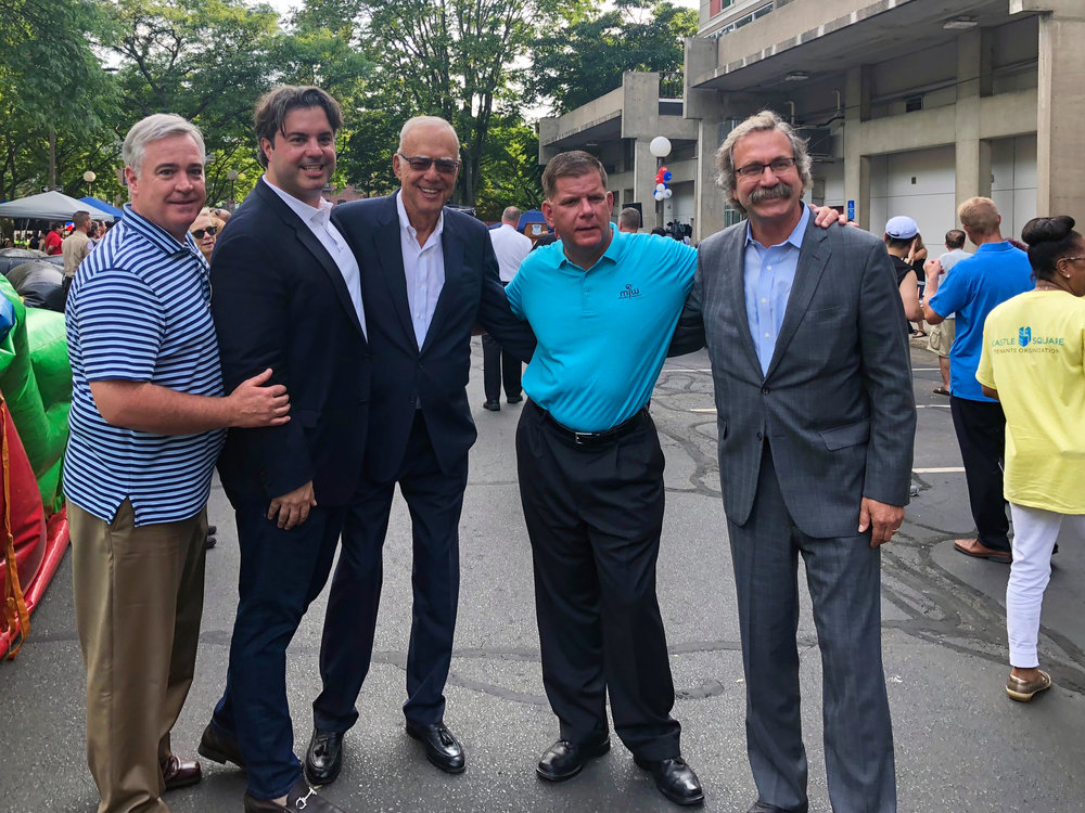 At  Castle Square  with Boston City Councilor At-Large  Michael Flaherty , My Son and CEO of WinnCompanies  Gilbert Winn , Boston Mayor  Marty Walsh  and WinnDevelopment President and Managing Partner  Larry Curtis