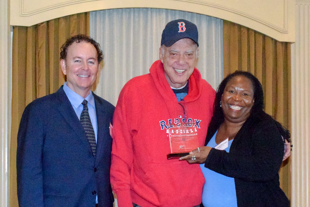 Here I am, receiving the award on behalf of WinnCompanies from  Michael Dirrane , Chair of MassHousing and  Chrystal Kornegay , Executive Director of MassHousing. Go Red Sox!