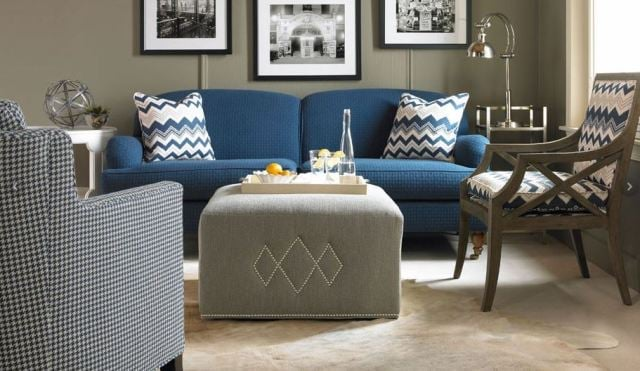 Traditional tight back sofa in blue, by Century.