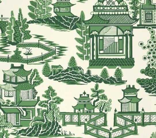 """Nanjing"" toile wallpaper by Schumacher is a perfect example of Chinoiserie."