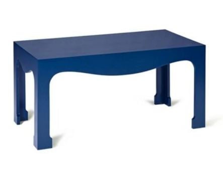 Babe cocktail table  in true blue lacquer by Schumacher has a bit of Chinese flair.