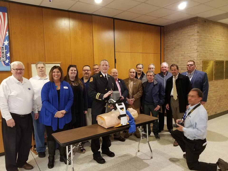 April 9, 2018: The Clinton Township Kiwanis Club was recognized at the Clinton Township Board Meeting for donating a Lucas 3 Device to the Clinton Township Fire Department. The device gives automatic chest compressions and will save many lives over the years.
