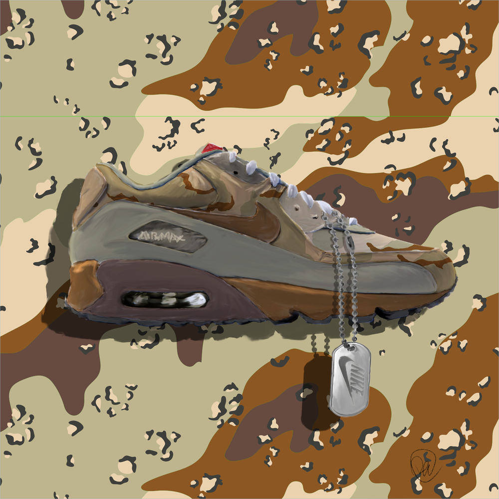 "Iraq & Afghanistan - A commemoration to the veterans of the 1990s Gulf War, a war commencing after Iraq's invasion of Kuwait, where the veterans donned ""chocolate-chip"" camouflage in the operation. Later, in the War in Afghanistan and the Iraq War, veterans combatted in the camouflage depicted on the sneaker."