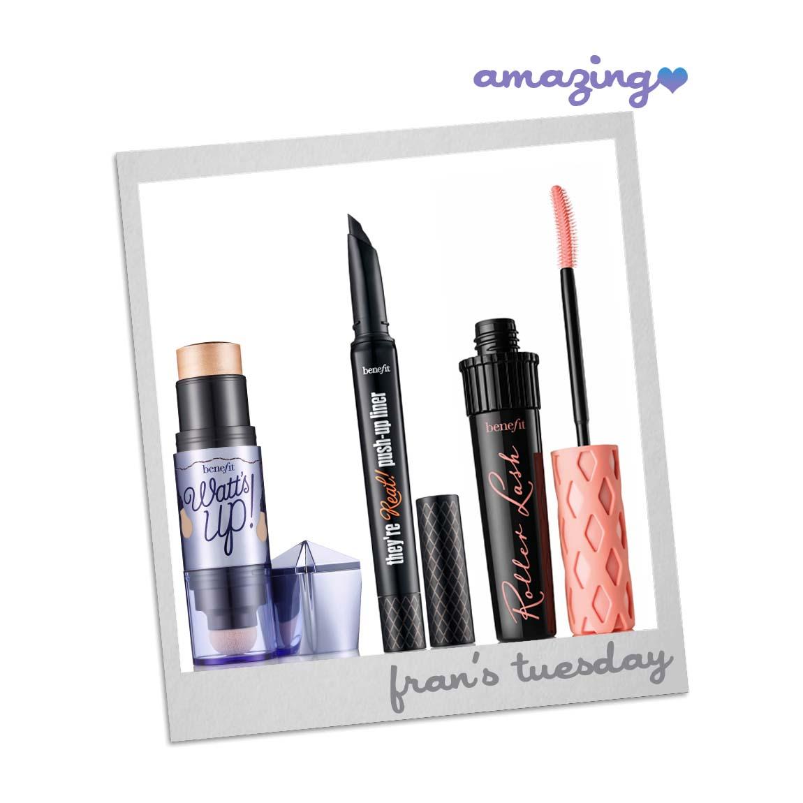 b55b5cebd72 Benefit Cosmetics – Roller Lash Mascara, Watts Up! Highlighter & They're  Real! Push-Up Liner — Amazing PR