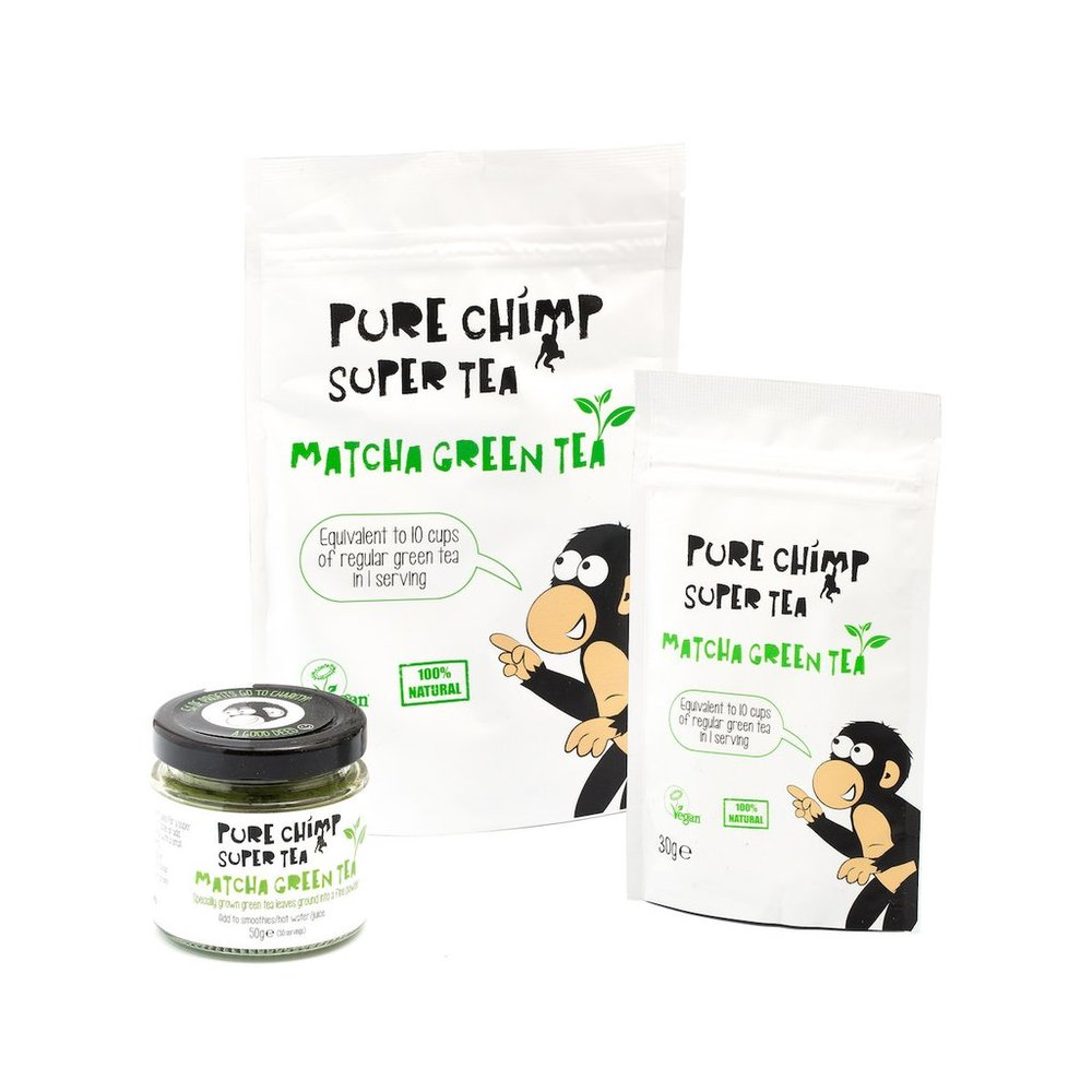 Pure Chimp's   Super Tea     specialises in  matcha green tea , a nutritional powerhouse produced in  Japan . This tea is different to regular green tea, as it's partially grown under cover helping to fill it with extra goodness. Equally, matcha tea also differs from normal green tea as it has higher levels of  theanine and chlorophyll .  Theanine  offers a wonderful  energy boost  without the crash that usually   follows after a cup of regular caffeinated tea. The higher chlorophyll gives this tea a lovely soft and  smooth flavour  that we can't get enough of.     We love the  versatility  of this product. You can add it to hot water, juice, smoothies and even bake with it. Our favourite combination was to simply add hot milk and drink it as a matcha latte! The product is also suitable for  vegans  so everyone can enjoy the health benefits of  Pure Chimp Super Tea .    Try  Pure Chimp's Super Tea    here   for £4.95.       Normal   0           false   false   false     EN-GB   X-NONE   X-NONE