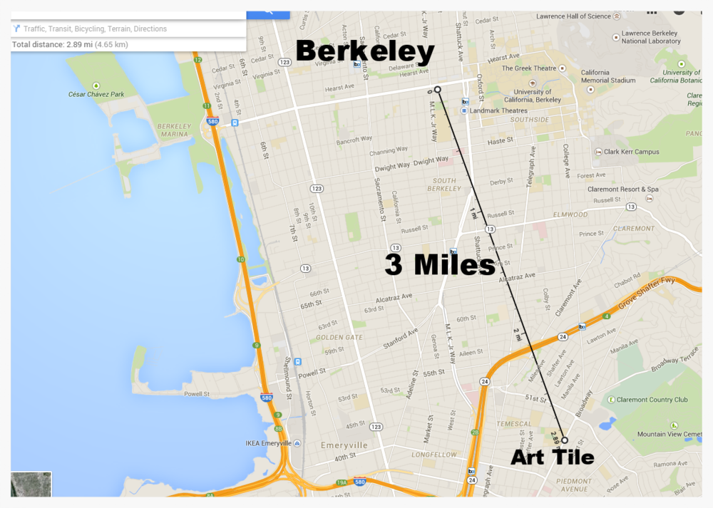 Distance from Berkeley to Art Tile