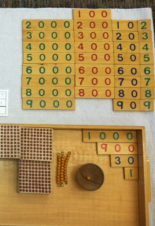 Math: Shown above is an example of children using beads to count and numerical cards to do addition work into the thousands decimal place.