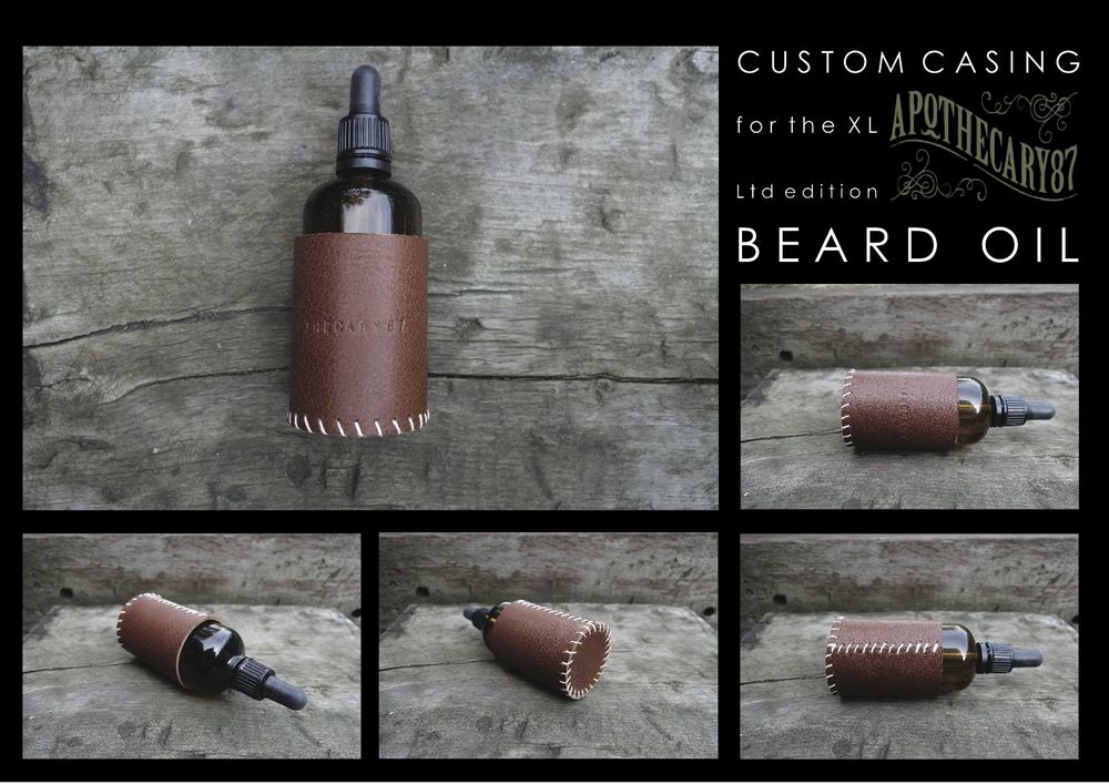 Thisprotective leather casingwas handcrafted to house theApothecary87 Limited Edition Ginger XL beard oil. Finished withhand letter stamping and whip stitching detail.