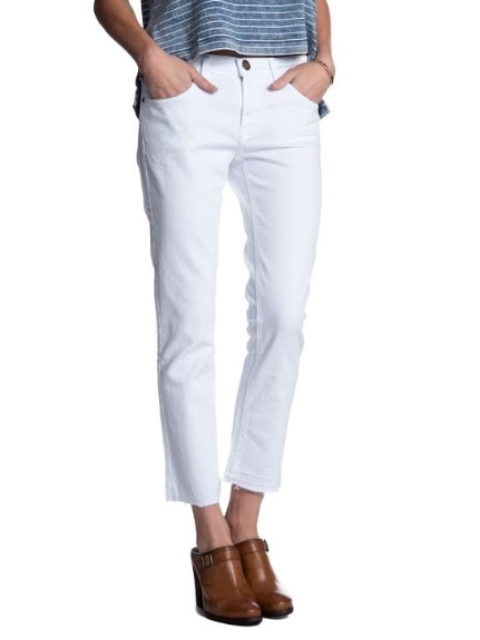Current/Elliot Cropped Straight Jean White
