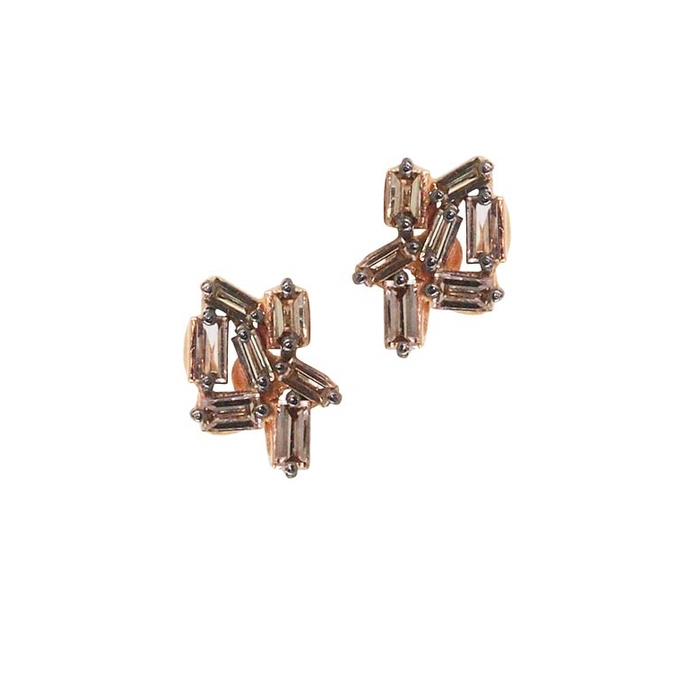 Suzanne Kalan Fireworks Yellow Gold and Diamond Earrings