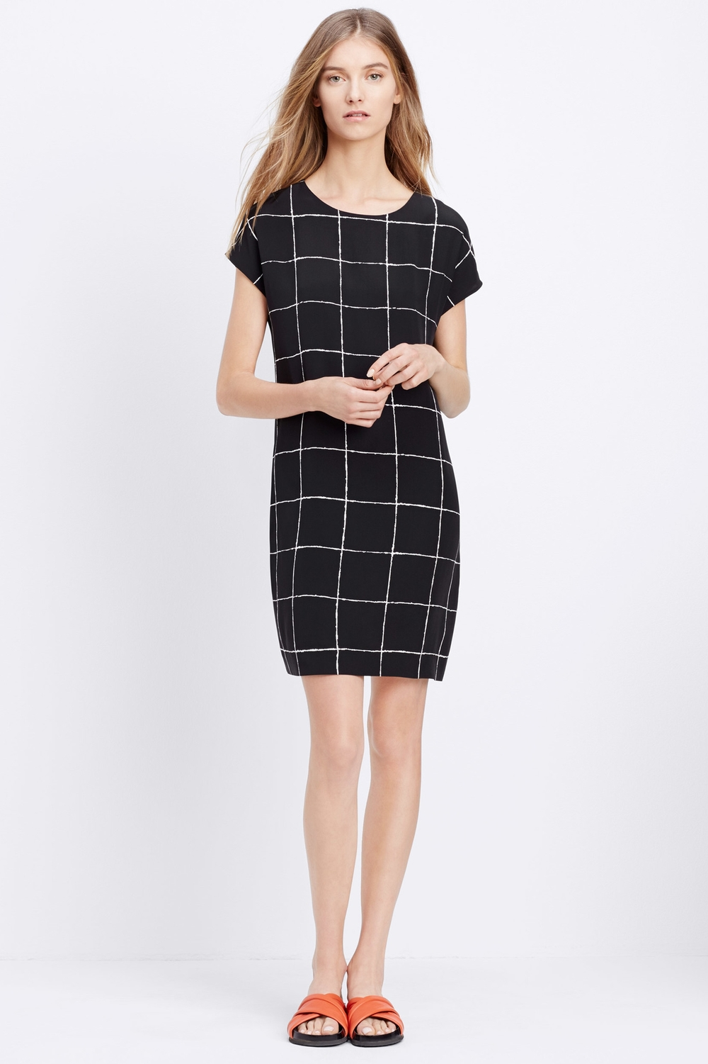 Vince Windowpane Silk Dress