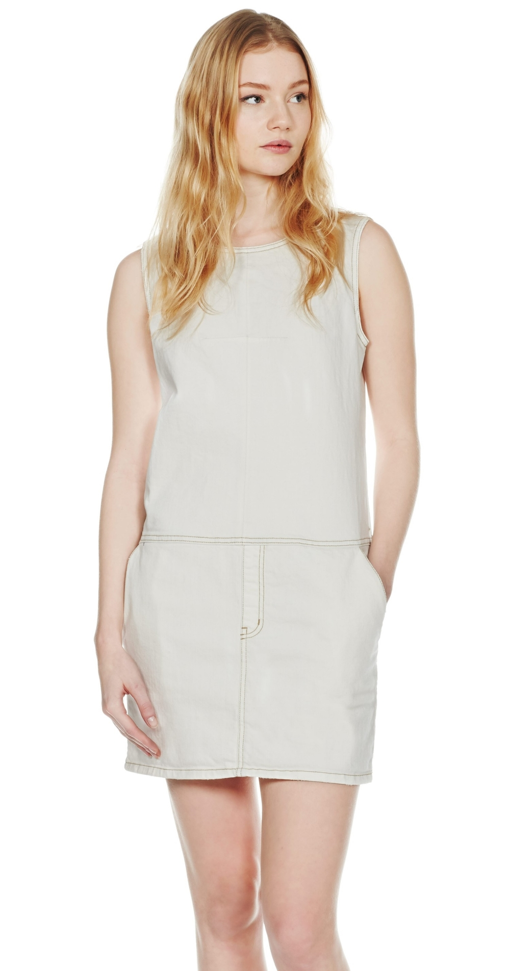 Current Elliot White Denim Shift Dress