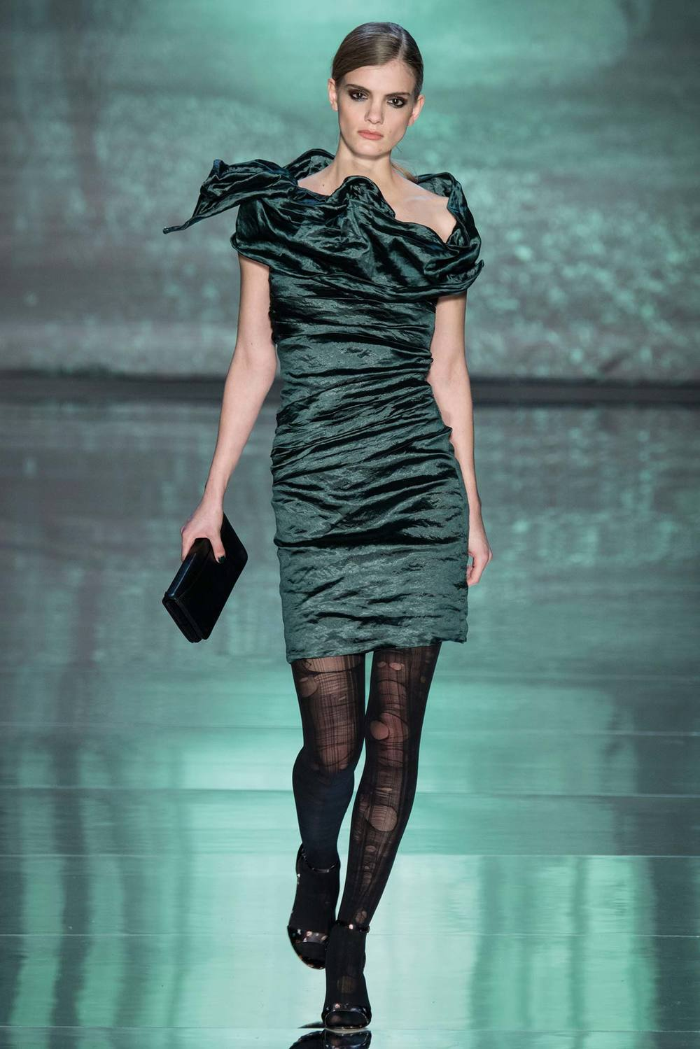 Nicole Miller Green Dress Fall 2015