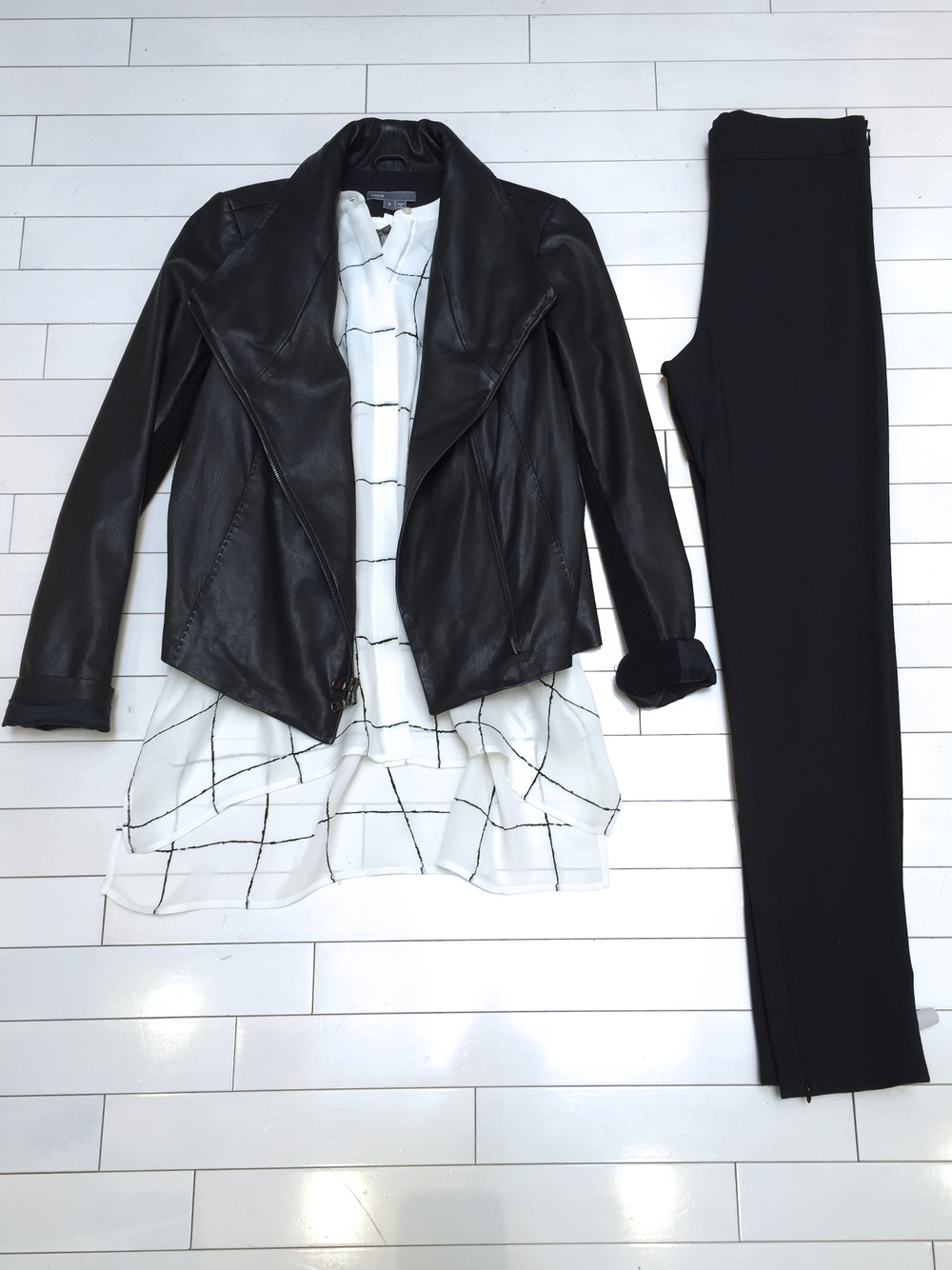 Vince Scuba Jacket and Windowpane Blouse and Theory Pant