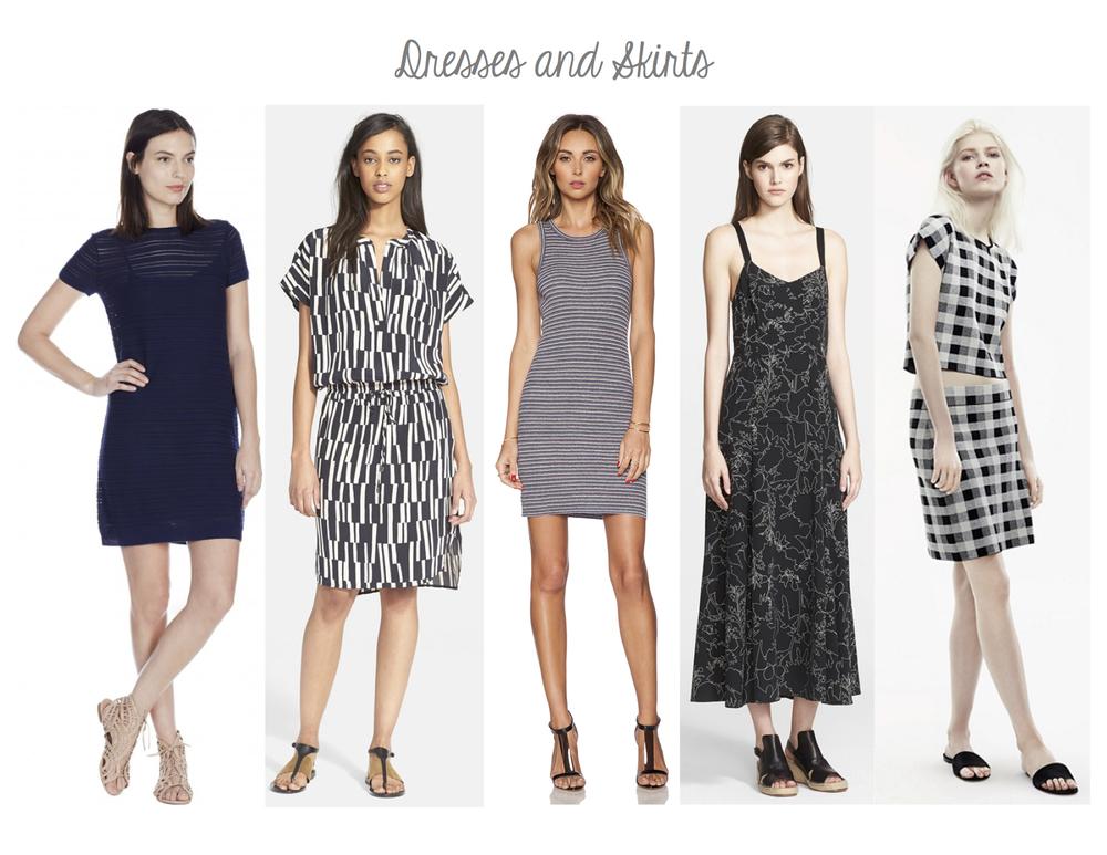 Joie Shai Dress, Vince Cap Sleeve Block Print Dress, Theory Privina Dress, Rag & Bone Jade Dress, Theory Seblyn D Top and Holeen G Skirt