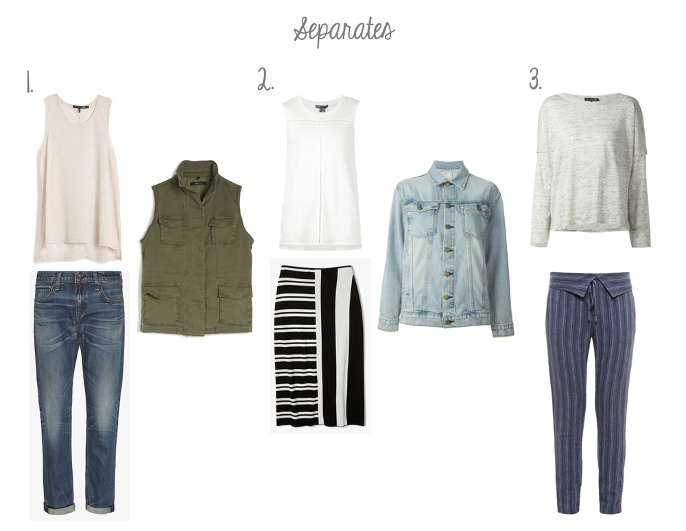 1. Rag & Bone Hollins Tank and Dre Jeans, J Brand Fatigue Vest. 2. Vince Tank with Inserts, Theory Stripe Skirt, Current/Elliott Oversized Jean Jacket 3. Rag & Bone Linen Tee, Vince Fold Over Waistband Pants