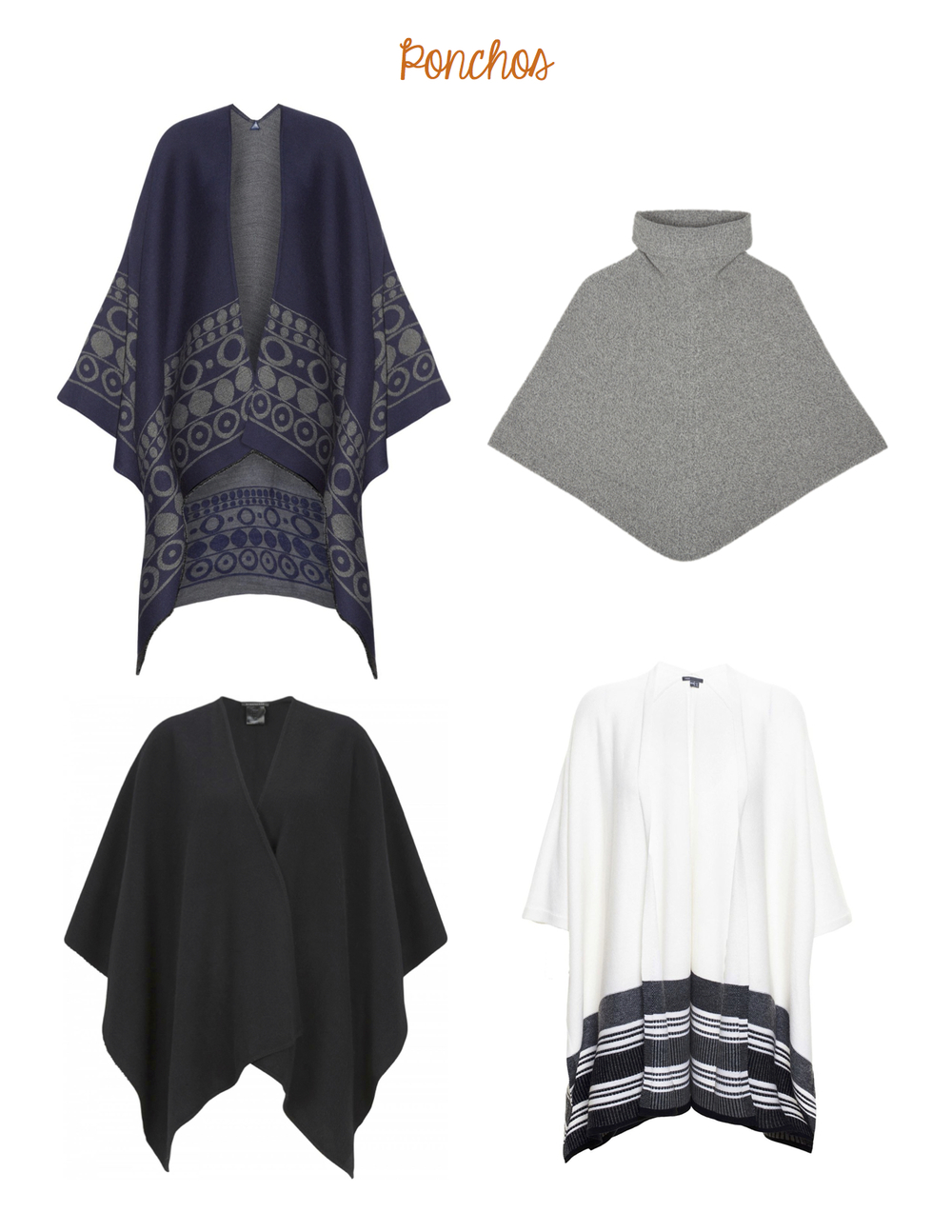 Clockwise from top left: Weekend Max Mara Sumatra Wrap and Bino Poncho, Vince Graphic Stripe Sweater Cape, Strenesse Poncho