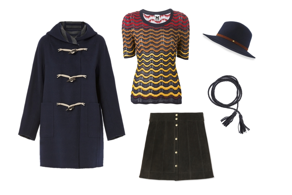 Max Mara Weekend Vicolo Duffle Coat, M Missoni Greek Key Top, Frame Denim Le Paneled Suede Mini, Rag & Bone Floppy Brim Fedora and ADA braided Leather Belt
