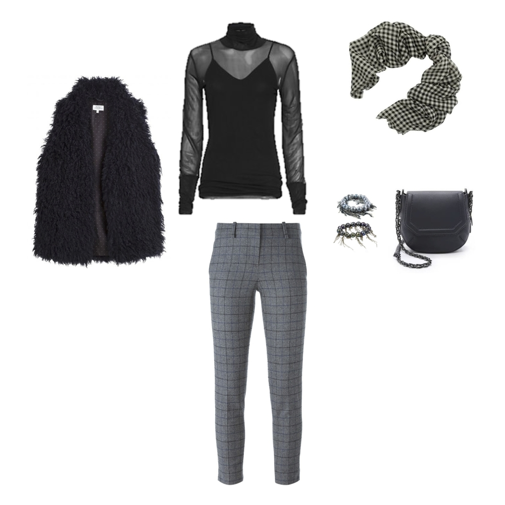 From L to R: Hartford France Versus Faux Fur Vest, Rag & Bone Ellen Double Layer Turtleneck, Theory Flannel Treeca Pant, Max Mara Marte Check Scarf, Samira 13 Pearl and Chain Bracelets, Rag & Bone Bradbury Mini Chain Cross-Body