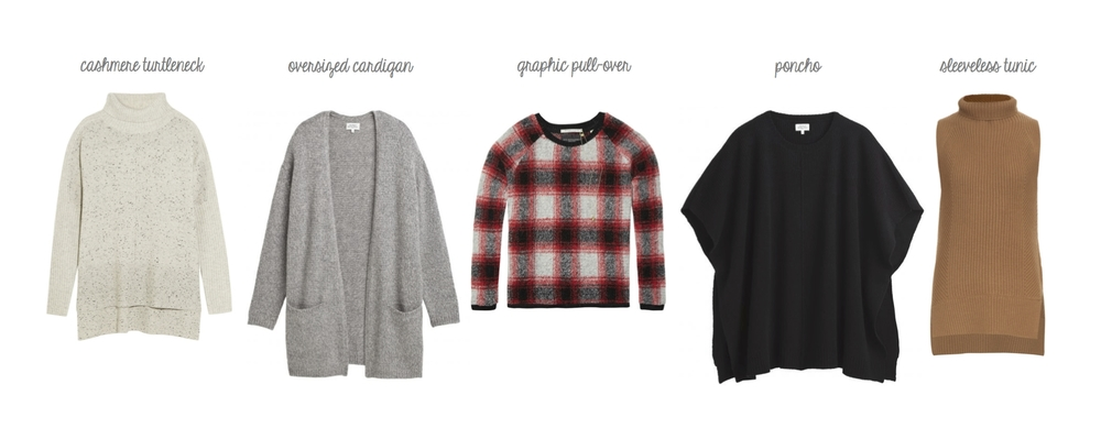 Rag & Bone Catherine cashmere turtleneck, Hartford Moha cardigan, Maison Scotch plaid pull-over, Hartford Mais poncho, Vince directional rib sleeveless turtleneck