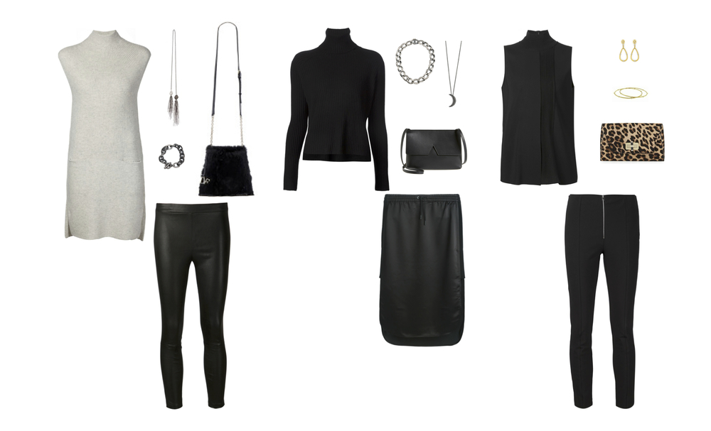 "From L to R: Vince directional rib cashmere dress and stretch leather leggings, Samira 13 tassel pearl lariat, Rene Escobar oxidized silver bracelet, DVF fur cross-body, Frame ""Le Crop"" cashmere turtleneck, T by Alexander Wang skirt, Rene Escobar oxidized silver necklace, Sara Weinstock half moon pendant with diamonds, Vince ""Signature V"" cross-body, Vince laser cut sleeveless turtleneck, Rag & Bone ""Perry"" pant, Sara Weinstock yellow gold and diamond earrings and bangles, DVF leopard print clutch."