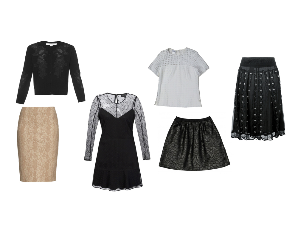 "From L to R: Max Mara ""Zanzara"" skirt, DVF ""Cooper"" cardigan, Rag & Bone ""Charlotte"" dress, RED Valentino eyelet skirt, Les Copains vegan leather lace skrit, Akris Punto eyelet top."