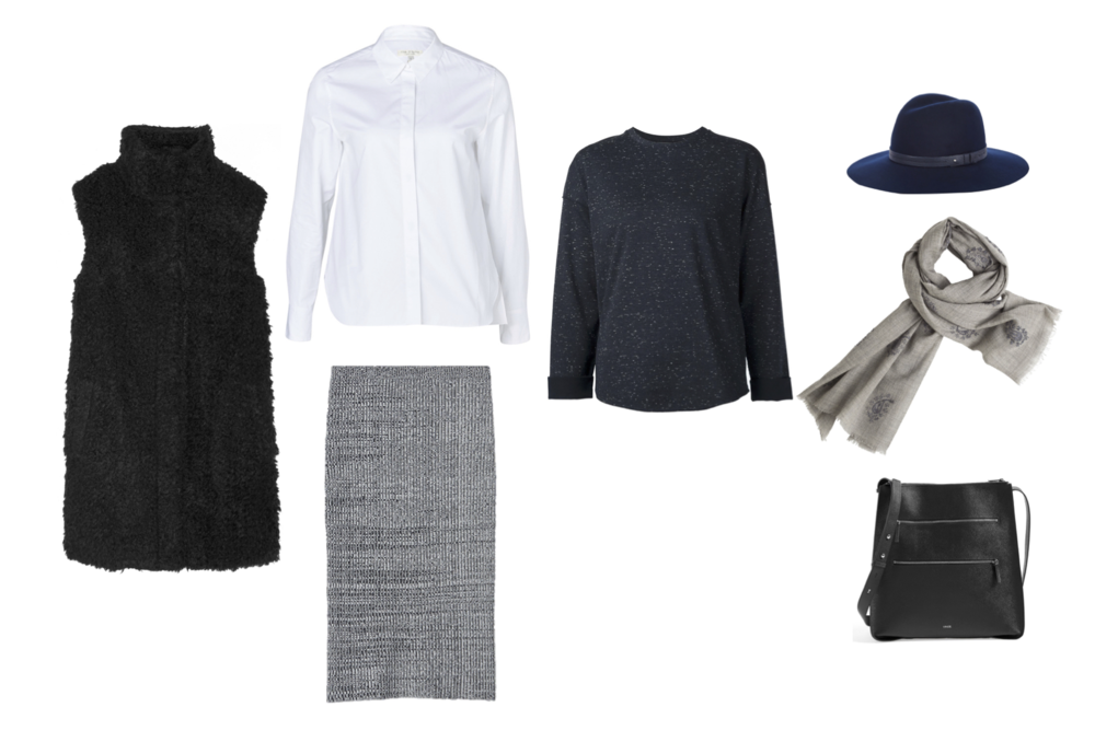 "Theory ""Visterna"" faux shearling vest, Rag & Bone ""Faye"" shirt, Theory ""Nellida"" rib skirt, Vince zip back sweatshirt, Rag & Bone wide brim fedora, Hartford scarf and Vince ""Zip Line"" bags."