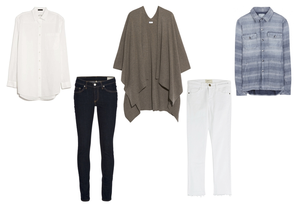 "ATM voile boyfriend shirt, Rag & Bone jeans, Vince cashmere poncho, Current/Elliott ""The Cropped Straight"" jean and ""The Patch Pocket Workman"" shirt."