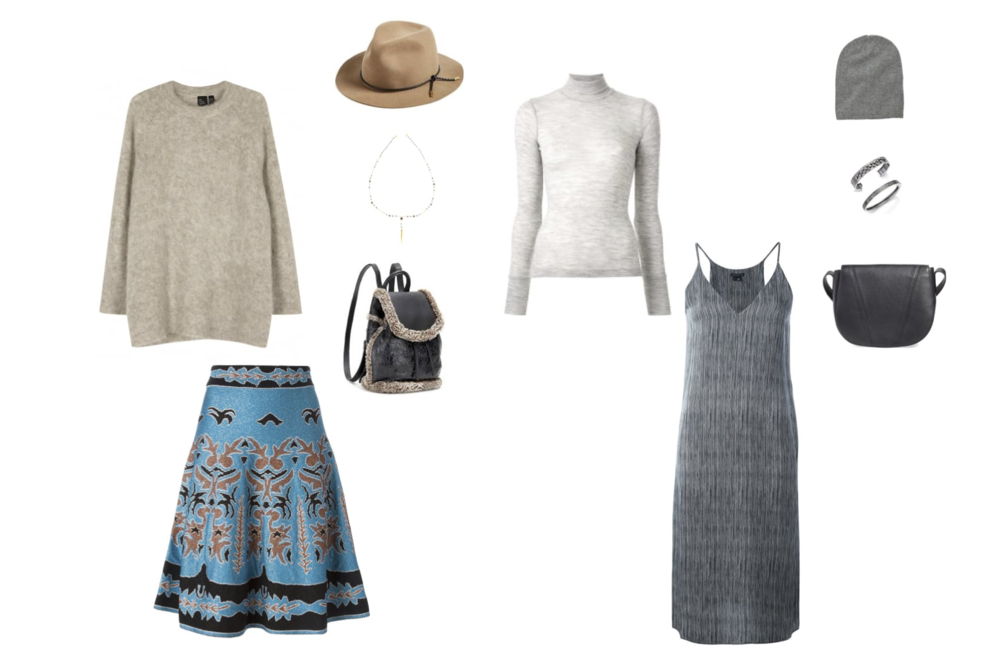 "From L to R: Eileen Fisher sweater, M Missoni skirt, Rag & Bone ""Abbot"" fedora, Chan Luu necklace, Rag & Bone shearling backpack, T by Alexander Wang rib turtleneck, Theory ""Kyon"" dress, Hartford cashmere beanie, Rene Escobar bangles and Vince ""Signature V"" cross body bag."