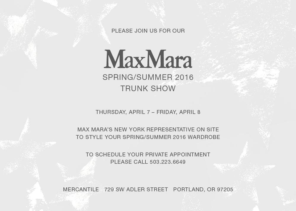 Max Mara Spring Summer Trunk Show April 2016