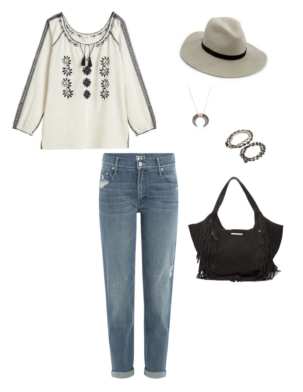 "Hartford ""Horsica"" Top, Mother Denim ""Drop Out"" jean, Rag & Bone wide brim fedora, Jacquie Aiche mini abalone double horn necklace, Love Heals freshwater pearl wrap bracelets & Day Birger et Mikkelsen fringe hobo bag."