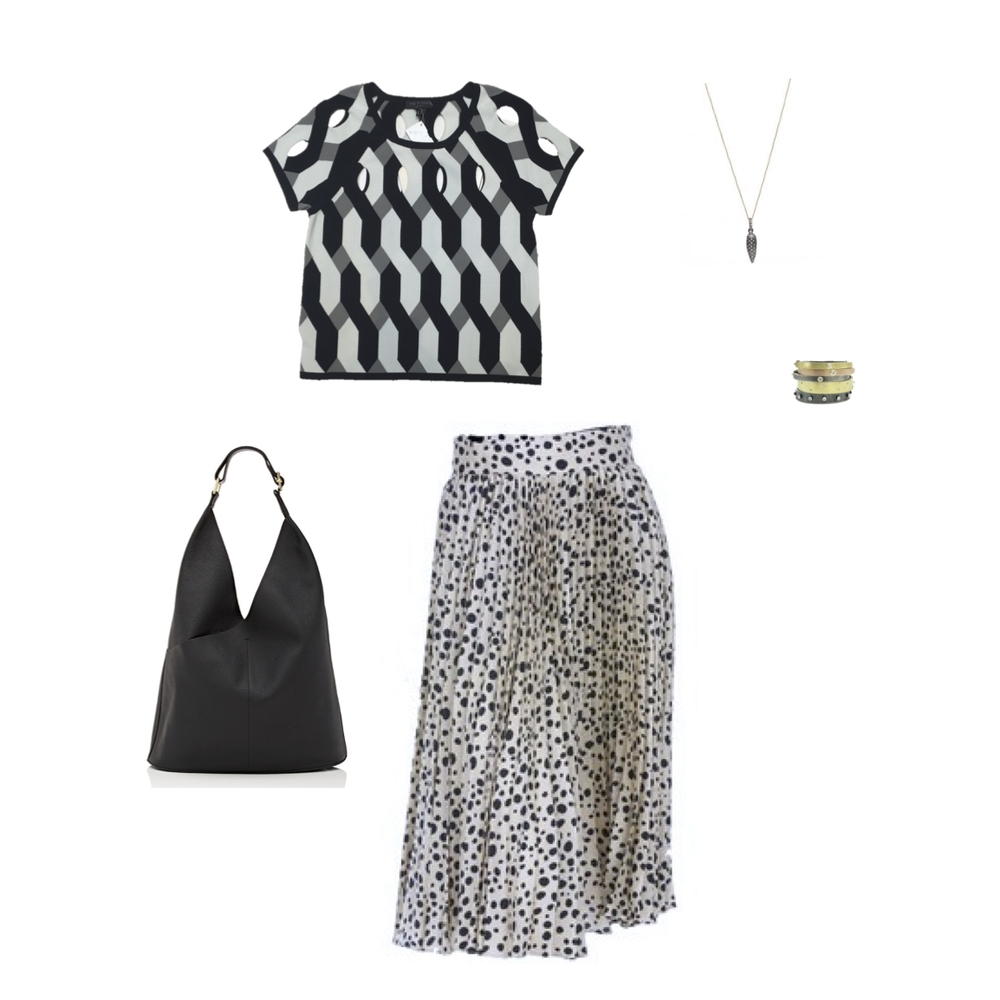 "From L to R: ALC ""Sadie"" hobo bag, Rag & Bone ""Olympia"" top, Tucker pleated midi skirt, Rene Escobar Oxidized silver pendant with diamonds and assorted 18k gold, oxidized silver bangles with diamonds"