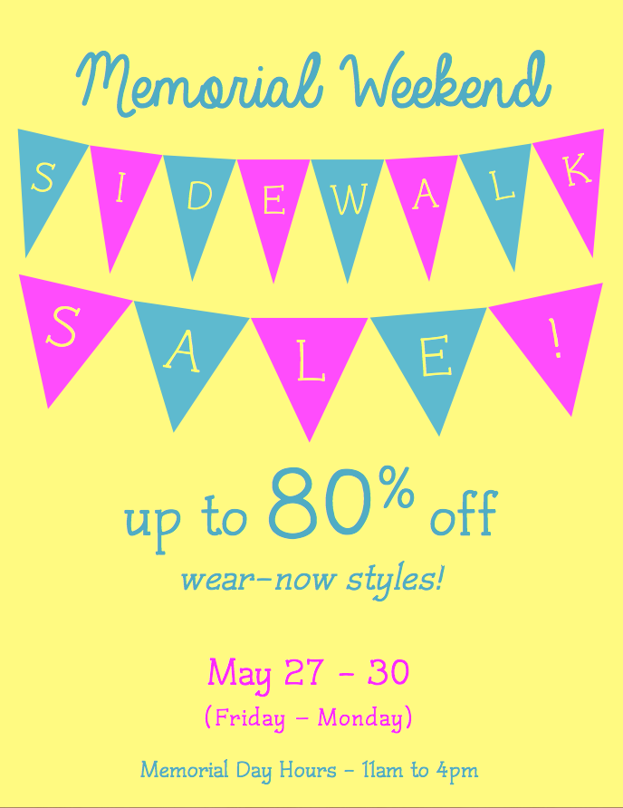Memorial Weekend Sidewalk Sale 2016