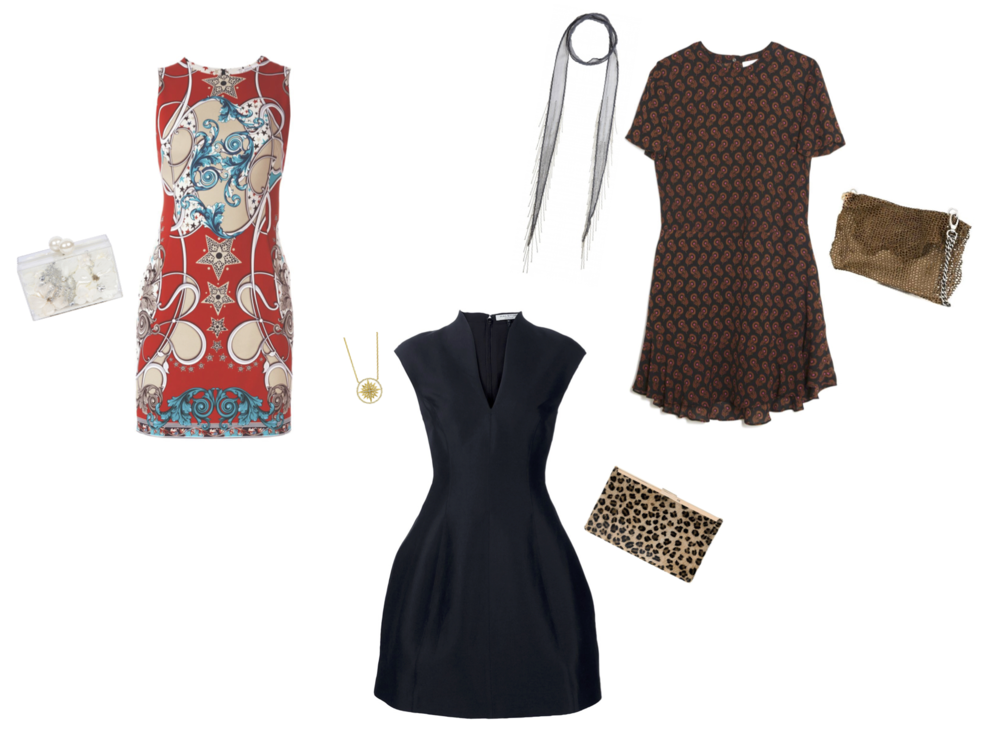 "From L to R: Ashlyn'd clutch, Versace Collection dress, Sarah Weinstock french lace starburst pendant, Halston notch neck dress, Shiraleah leopard print clutch, Chan Luu skinny scarf with fringe, ALC ""Louise"" dress and Claudio Cutuli laser cut leather handbag"