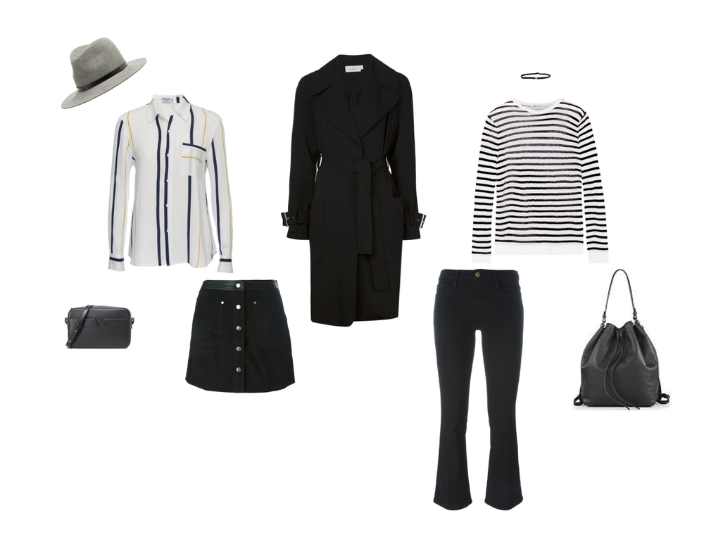"From L to R: Rag & Bone floppy brim fedora, Frame ""Le Stripe"" shirt, Vince leather camera bag, Rag & Bone ""Siggy"" suede skirt, ALC trench coat, Frame ""Le Crop Mini Boot"" jean, T by Alexander Wang stripe tee, Vince convertible leather backpack."