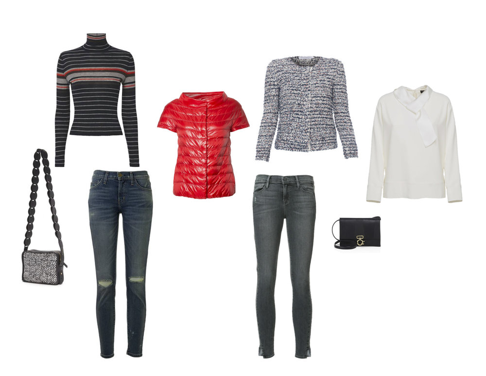 "From L to R: Derek Lam 10 Crosby woven cross-body, Rag & Bone ""Salute"" stripe top, Current/Elliott jeans, Herno puffer jacket, Frame jeans, Amina Rubinacci tweed jacket, Derek Lam 10 Crosby leather cross-body with metal hardware and Antonelli Firenze ""Charlotte"" shirt."