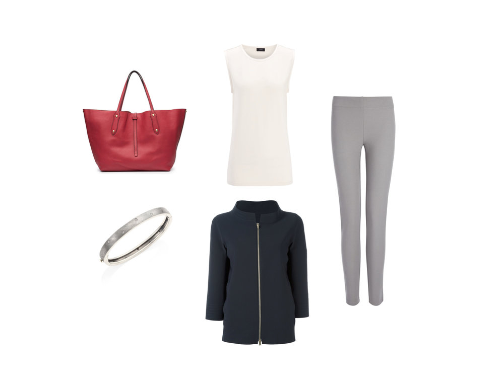 FROM L TO R: ANNABEL INGALL LARGE ISABELLA TOTE, RENE ESCOBAR DIAMOND & STERLING SILVER BANGLE BRACELET, JOSEPH COTTON LYOCELL STRETCH TANK, HERNO THREE-QUARTERS SLEEVE ZIPPED JACKET AND JOSEPH GABARDINE STRETCH LEGGING.