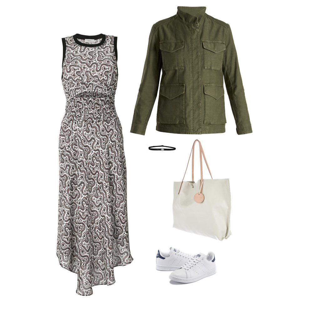 From L to R: ALC Sandra Dress, Vince Military jacket, shay white gold and diamond choker & Jack gomme leather tote.
