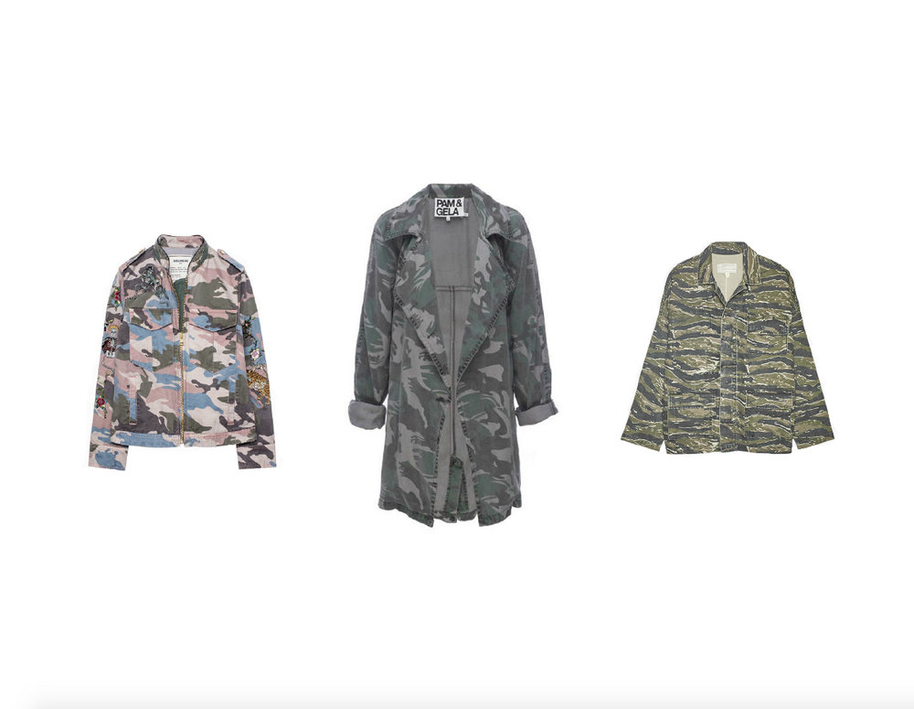 ZADIG & VOLTAIRE KAVY EMBROIDERED CAMO JACKET, PAM & GELA CAMO TRENCH COAT & CURRENT/ELLIOT FATIGUE JACKET