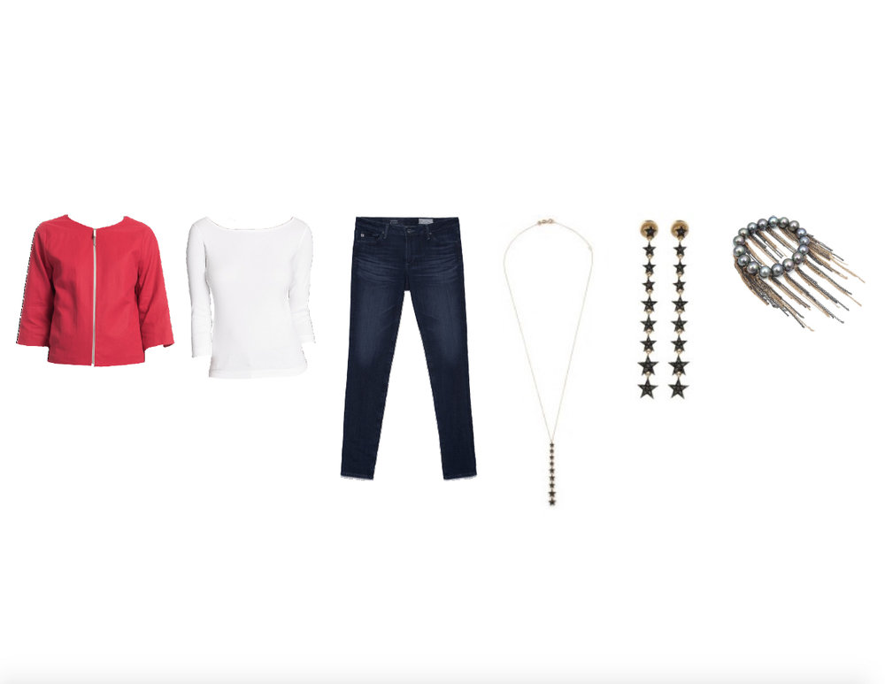 FABIANA FILIPPI COTTON JACKET, THREE DOTS BRITISH COTTON TEE, AG JEANS THE PRIMA, KISMET HEROINE LONG STAR NECKLACE BLACK DIAMONDS, KISMET HEROINE LONG STAR EARRING BLACK DIAMONDS & SAMIRA 13 JEWELRY FRINGE BRACELET