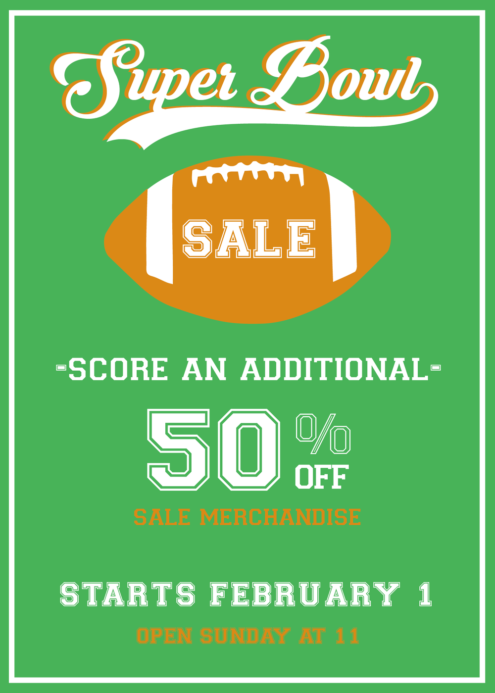TAKE AN ADDITIONAL 50% OFF SALE MERCHANDISE FEBRUARY 1-4