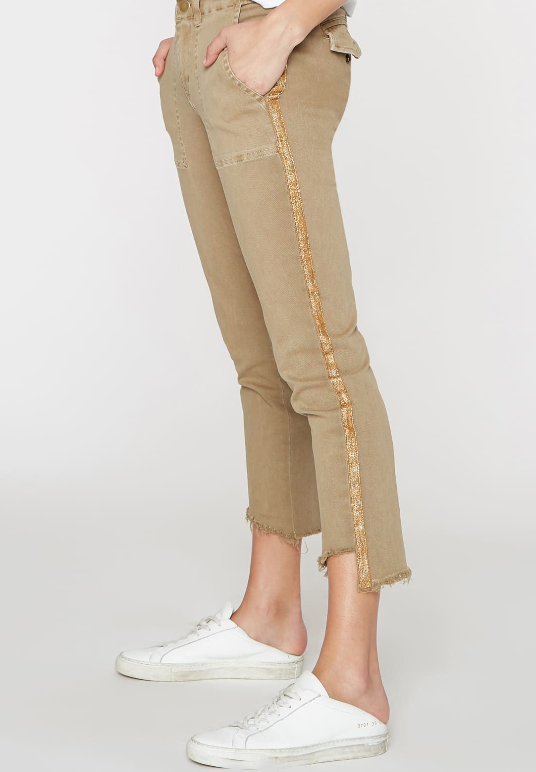 PAM & GELA - OFF SET PANT WITH GOLD STRIPES