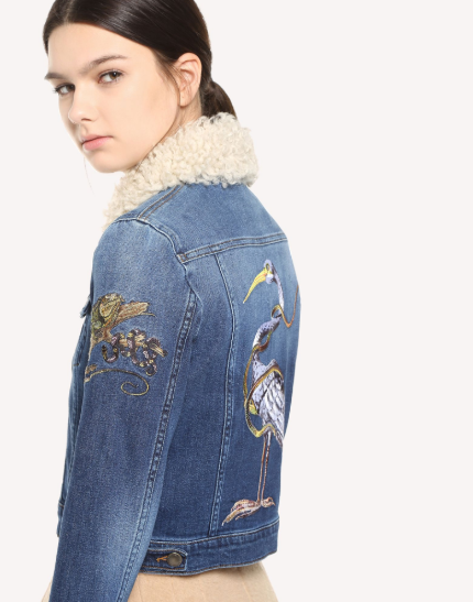 RED VALENTINO DENIM JACKET WITH ENCHANTING REPTILE AND BIRD EMBROIDERY