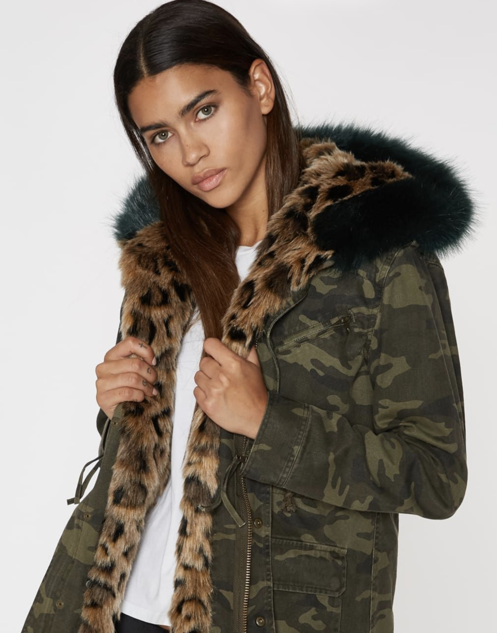 Pam & Gela Camo Parka with Faux Fur