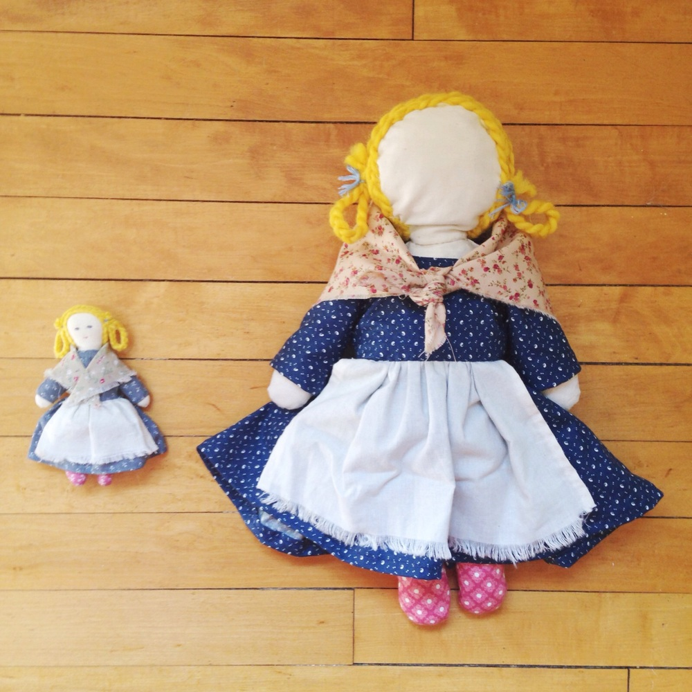 left: Americang Girl doll's doll // right: my version