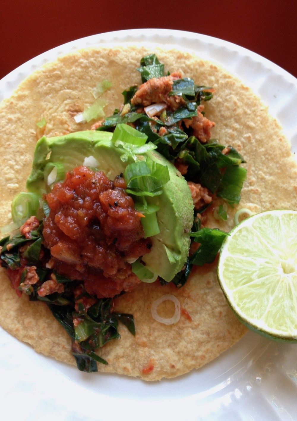 collard greens and chicken chorizo tacos