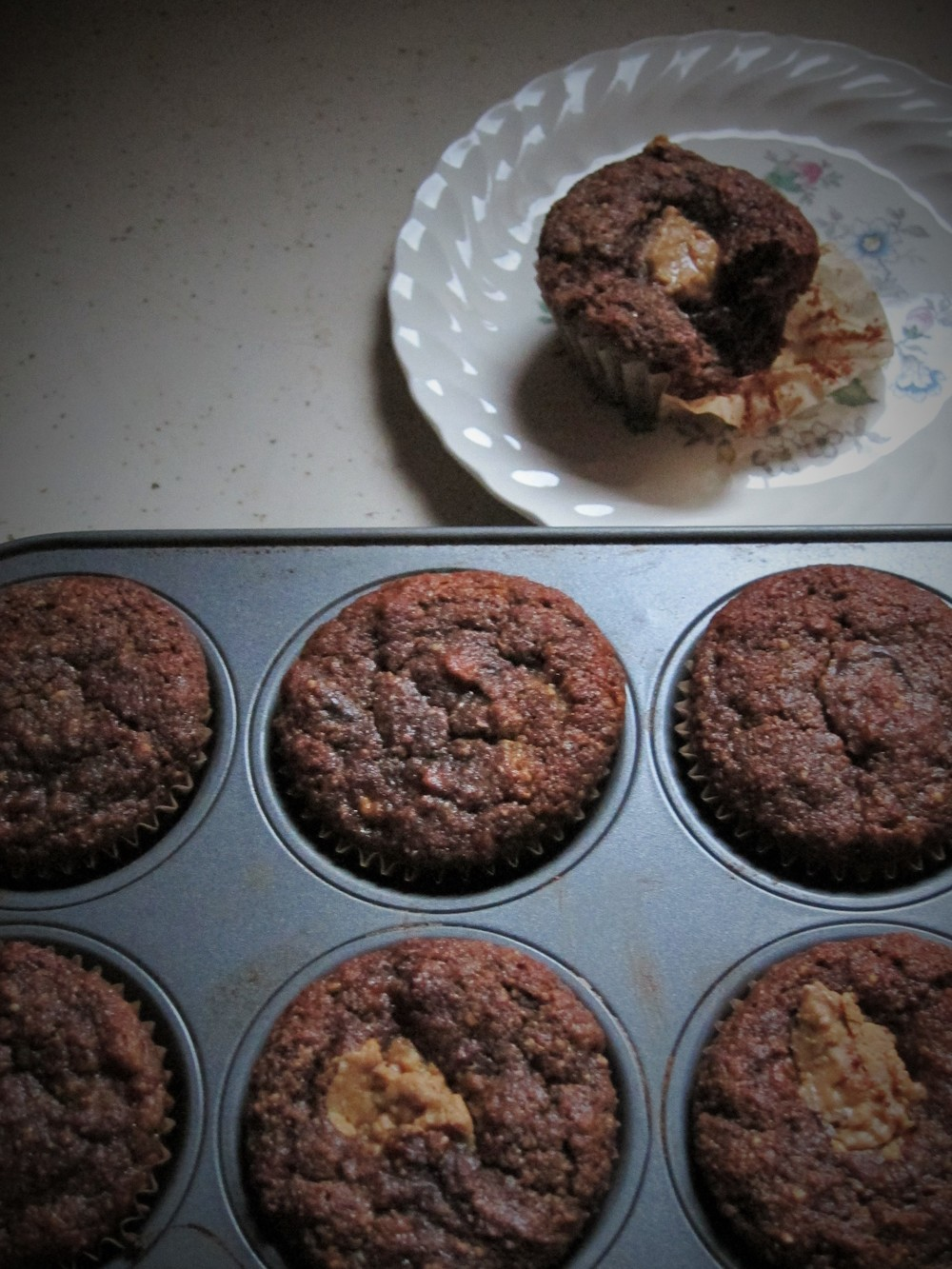 chocolate  banana muffins with peanut butter filling (GF)