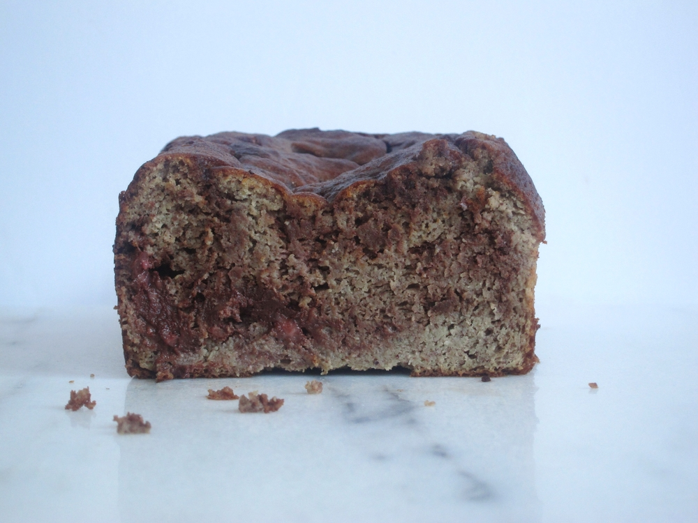 raspberry chocolate swirled banana bread