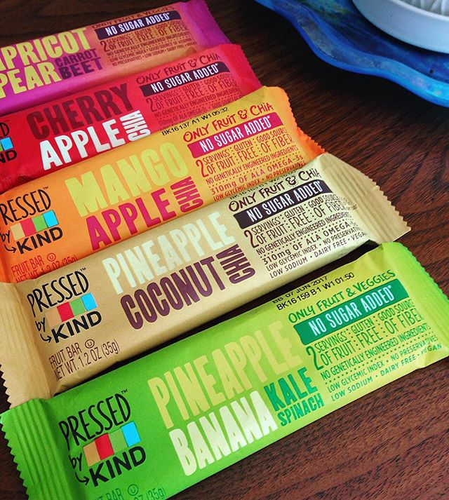 "Super psyched to try these colorful #pressedbyKIND bars made with only fruit, veggies and chia. Maybe now I can finally kick the habit of grabbing a ""fun"" size Snickers from my co-worker's desk drawer at 2 PM every day! ❤️💛💚💙💜#kindpartner #kindnutrition #noaddedsugar @smetacia @arnoldem @chetney_marie"