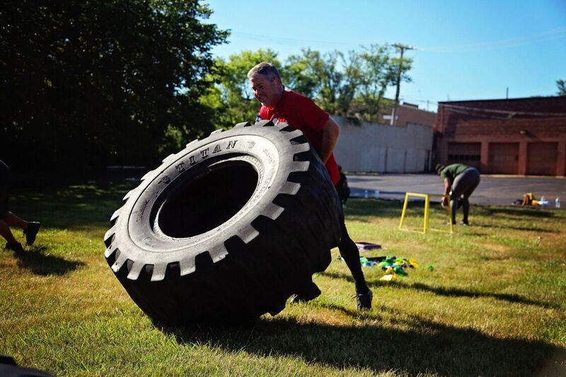 Giant Tire Flips - Outdoor Boot Camp